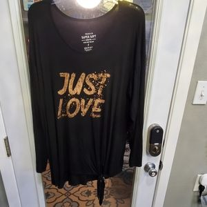 Torrid just love super soft black tunic tied shirt